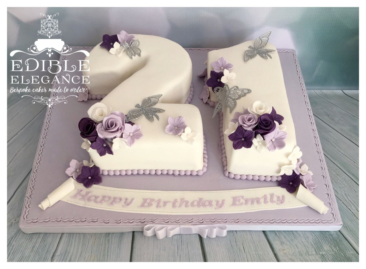 Number Birthday Cakes Gorgeous Lavender Purple And White Number Cake For A 21st Birthday