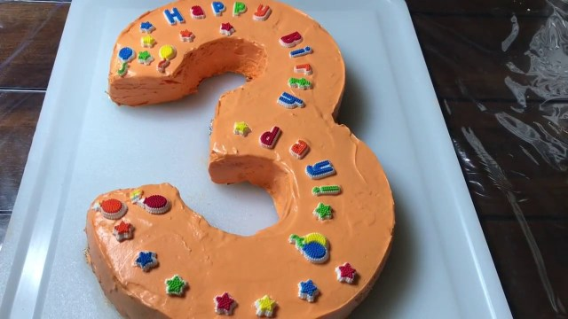 Number Birthday Cakes Number 3 Shape Birthday Cake Step Step Youtube
