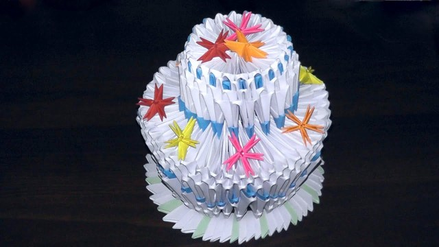 Origami Birthday Cake 3d Origami Birthday Cake Pie Tutorial Youtube