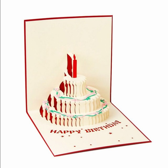 Origami Birthday Cake Birthday Cake Candle Design Greeting Card 3d Handcrafted Origami