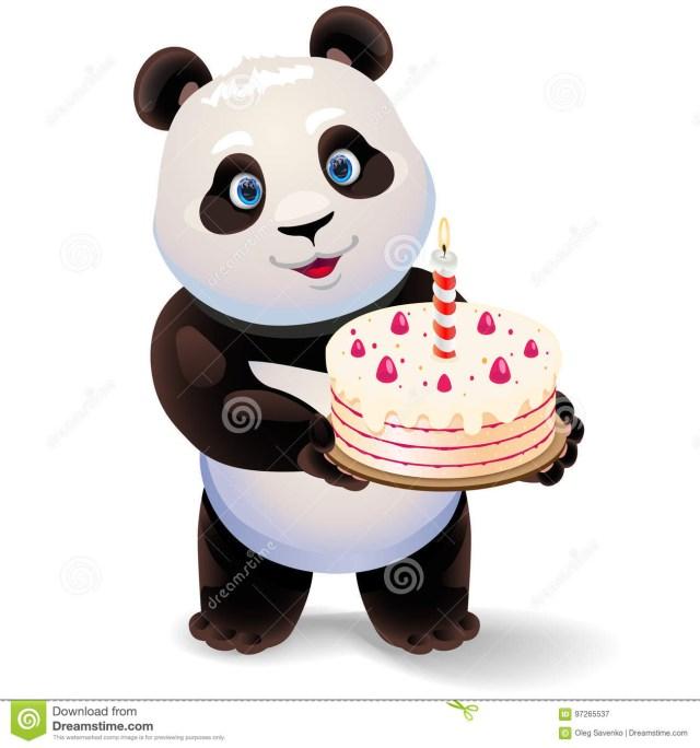 Panda Birthday Cake Panda Holding Birthday Cake Vector Clip Art Illustration With