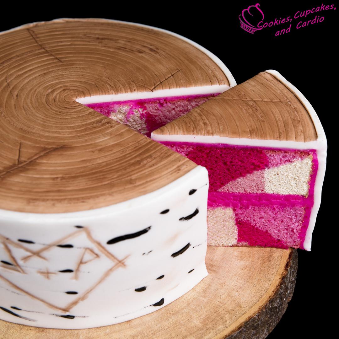 Pink Camo Birthday Cakes How To Make A Birch Bark Log Cake W Hidden Camouflage