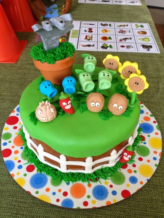 Plants Vs Zombies Birthday Cake Cranberry Corner Conors Plants Vs Zombies Party With The Incredible