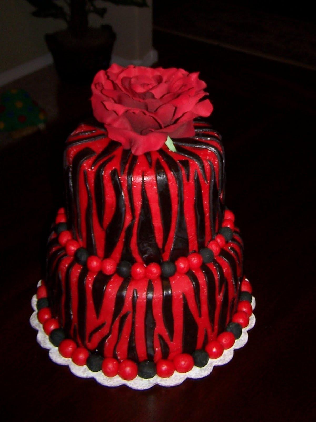 Red Birthday Cake Heather Calvin Cakes Red And Black Zebra Print Birthday Cake