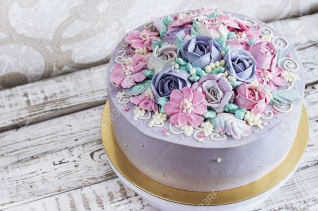 Rose Birthday Cake Birthday Cake With Flowers Rose On White Background Stock Photo