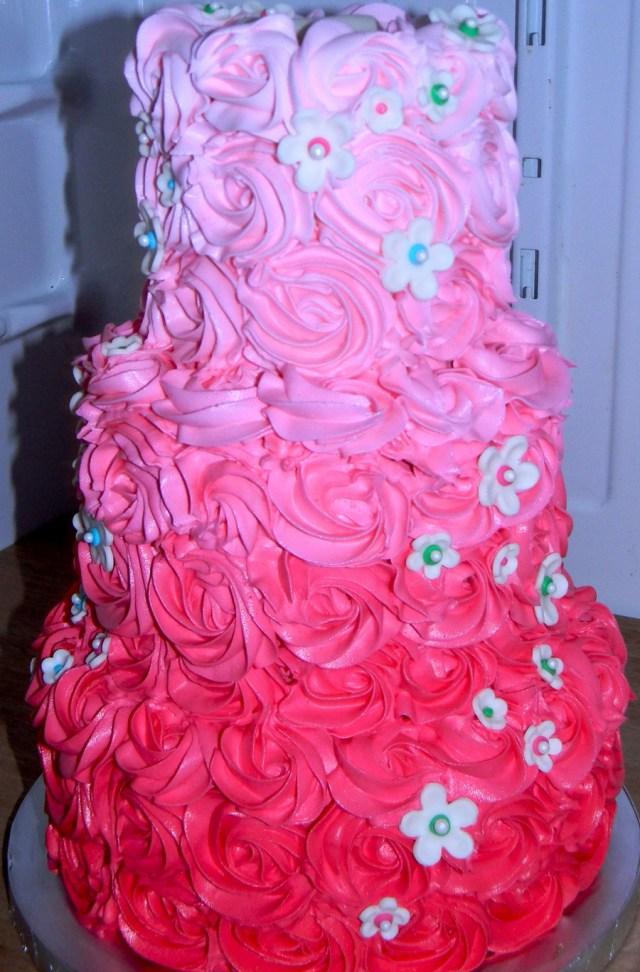Rose Birthday Cake Ombre Rose Birthday Cake Cakecentral