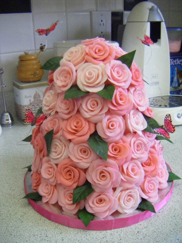 Rose Birthday Cake Pink Rose Tower Butterflies Birthday Cake Cakecentral