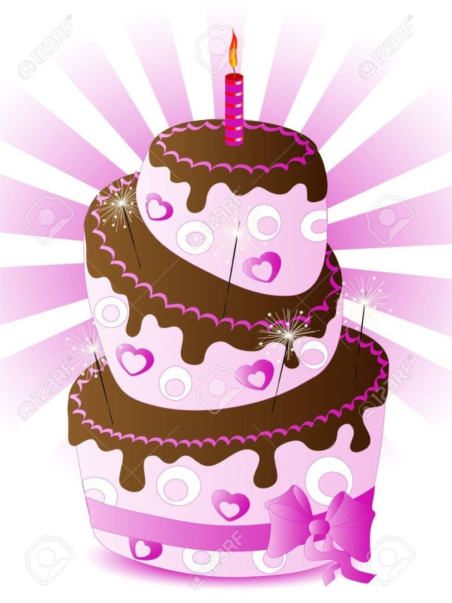 Rose Birthday Cake Rose Birthday Cake With One Candle Royalty Free Cliparts Vectors