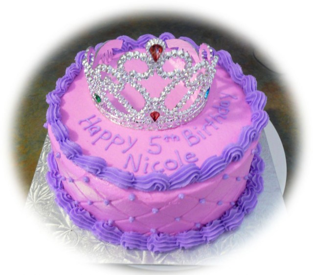 Round Birthday Cakes Pink And Purple Princess Cake 8 Round Cake Using The Diamond