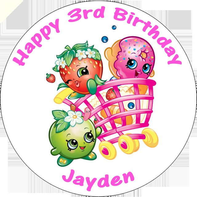 Round Birthday Cakes Shopkins Cart Personalised Round Birthday Cake Topper