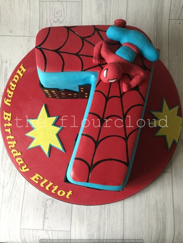 Spiderman Birthday Cake A Number 7 Birthday Cake With An Awesome Spiderman Theme Cakes