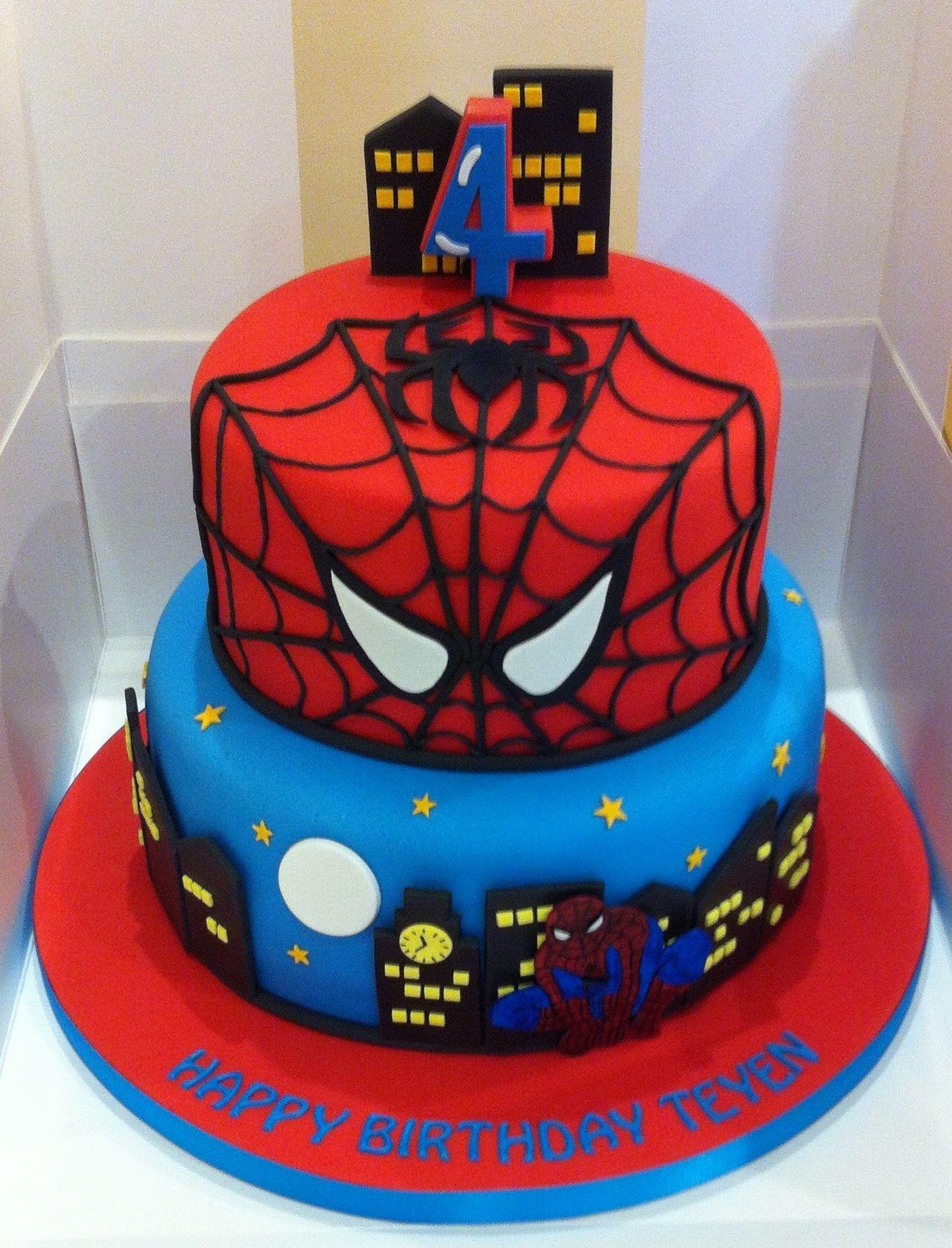 Spiderman Birthday Cake Spider Man Party Pinterest And