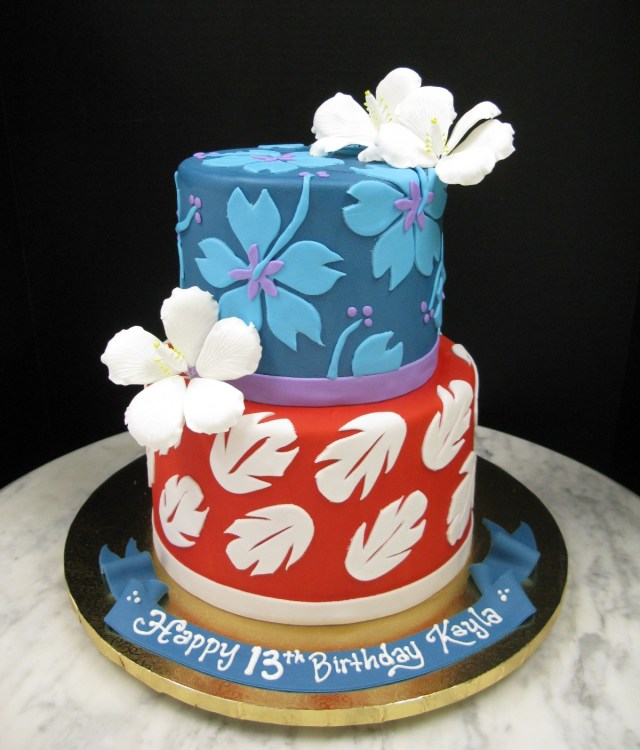 Stitch Birthday Cake Hawaiian Patterns Mother Mousse