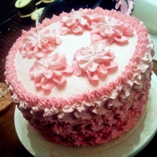 Strawberry Birthday Cakes A Strawberry Birthday Cake Pink Ruffle Petals Savorgoodfood