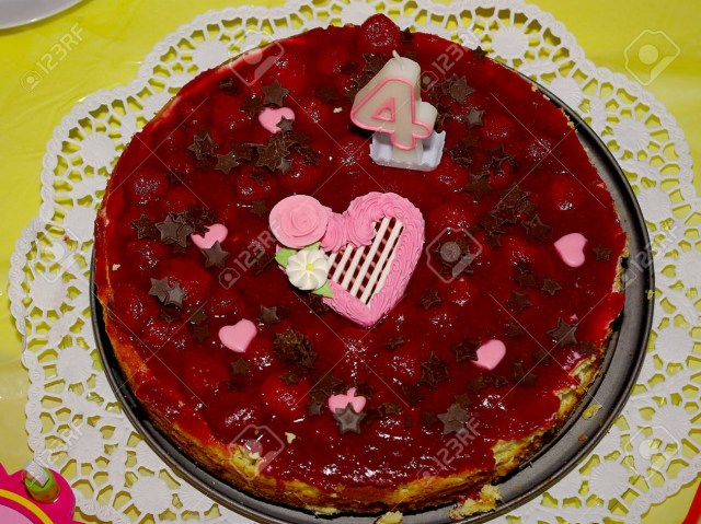 Strawberry Birthday Cakes Strawberry Birthday Cake For A Childs 4th Birthday Party Stock