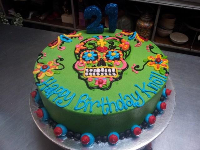 Sugar Skull Birthday Cake Wicked Chocolate Candy Skull Themed 21st Birthday Cake With Piped