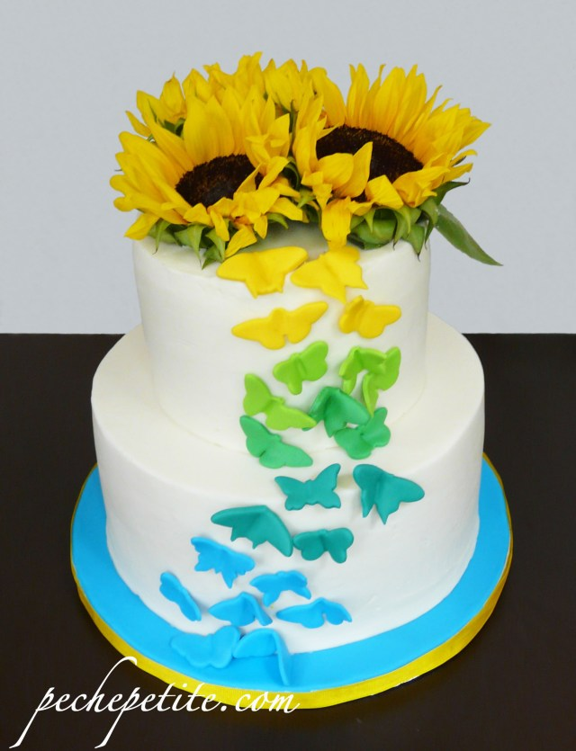 Sunflower Birthday Cake Custom Butterfly Cakes Peche Petite