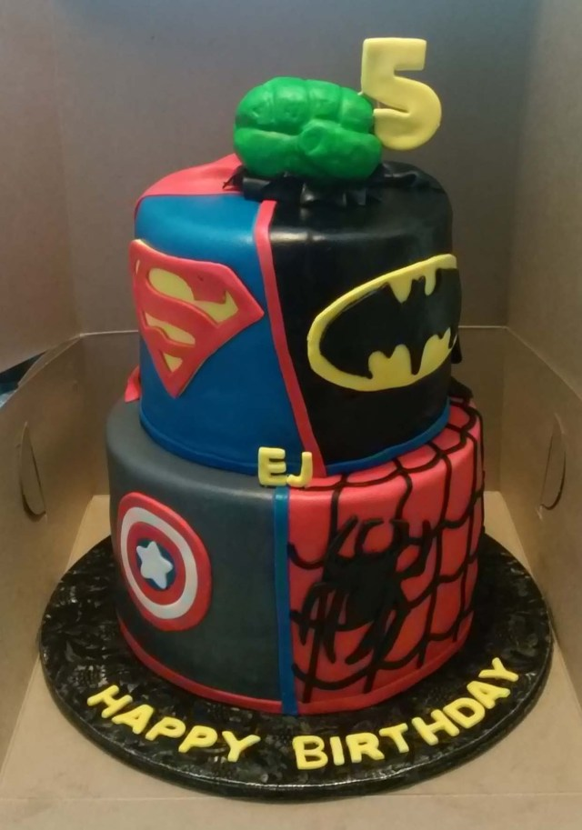 Superhero Birthday Cake Dc And Marvel Superhero Themed 2 Tier Birthday Cake Cakecentral
