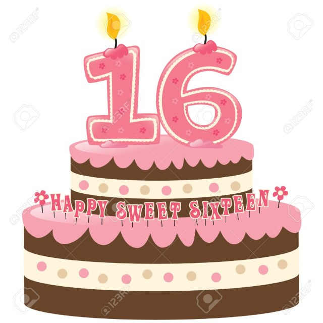 Sweet 16 Birthday Cake Sweet Sixteen Birthday Cake With Numeral Candles Royalty Free