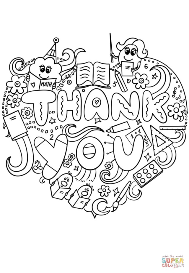 Thank You Coloring Pages Thank You Teacher Doodle Coloring Page Free Printable Coloring Pages