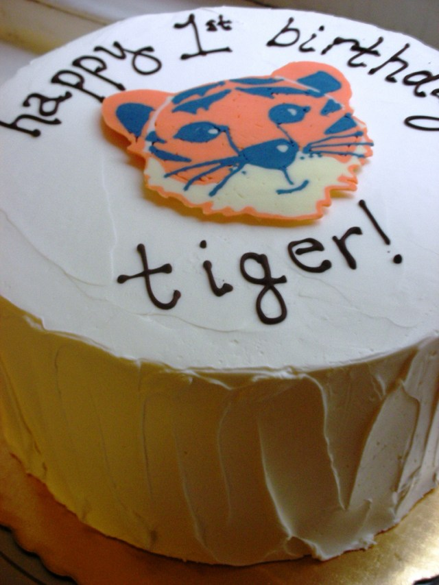 Tiger Birthday Cake Tigers First Birthday Cake Vanilla Cake With Vanilla But Flickr