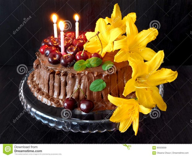 Unusual Birthday Cakes Chocolate Cake Decorated With Cherries Candles And Flowers Stock