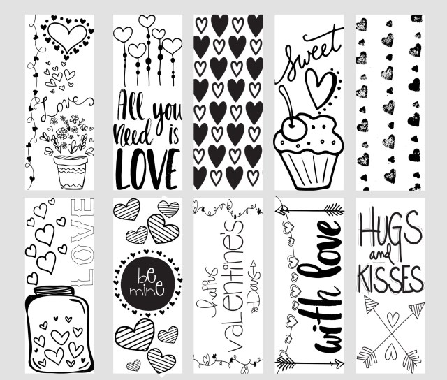Valentine Coloring Pages To Print Valentine Printable Coloring Page Bookmarks Kleinworth Co