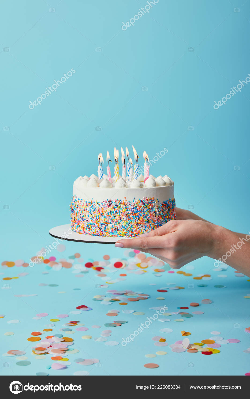 Woman Birthday Cake Cropped View Holding Delicious Candles Blue