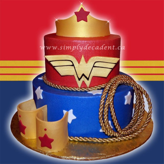 Wonder Woman Birthday Cake Wonder Woman Birthday Cake With Fondant Crown Bracelets Rope