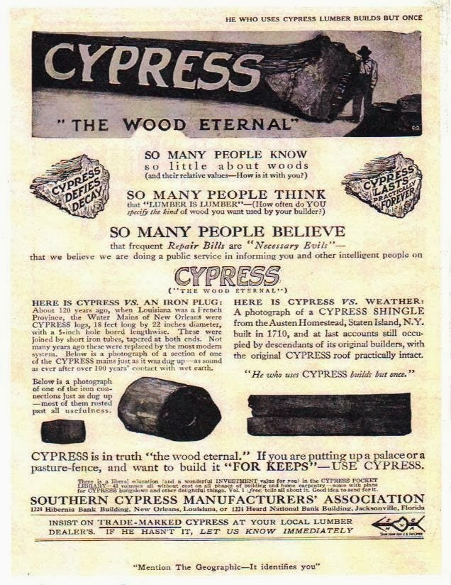 Vintage Ad Authenticates Louisiana Cypress Logs used for City ...