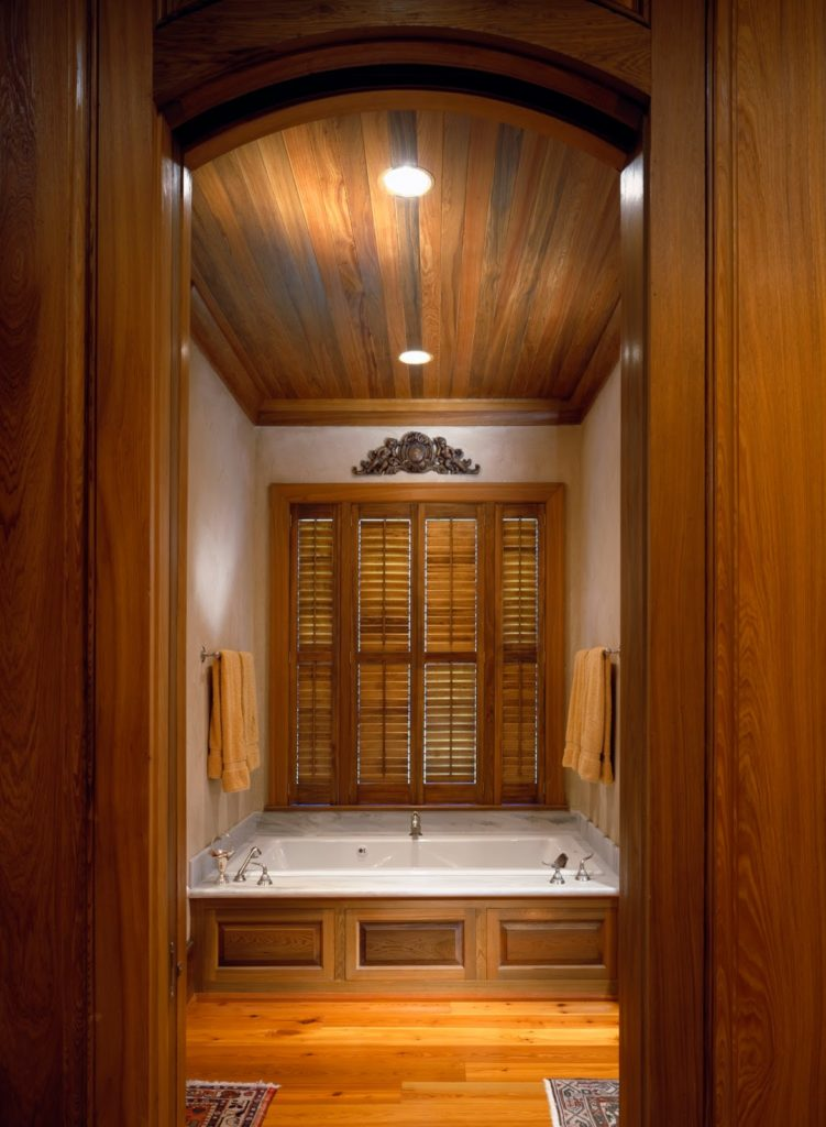 sinker cypress panels bathroom