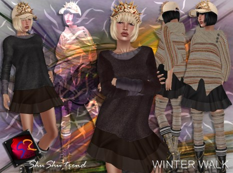 ShuShu WINTER WALK outfit - skirt shirt poncho cap w hair boots