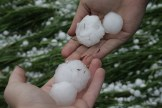 Golf ball sized hail and larger north of Camrose