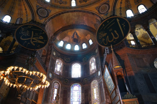 Inside Hagia Sophia Museum, two main culture which influenced Turkey are standing side by side.