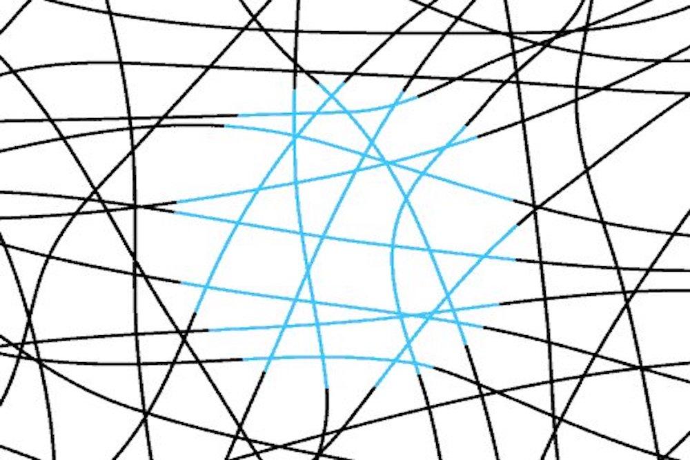 illusione ottica cerchio colorato di azzurro