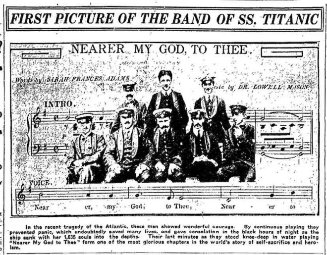 Los músicos del Titanic: Wallace H. Hartley (Director de la banda), Roger Bricoux, Fred Clarke, P.C. Taylor, G. Krins, Theodore Brailey, Jock Hume y J.W. Woodward