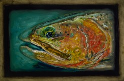 "Cutthroat Trout I,Lamar Valley, Yellowstone Park,6"" x 8.75""Oils on Plaster Panel"