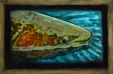"Cutthroat Trout II,Lamar Valley, Yellowstone Park,6"" x 8.75""Oils on Plaster Panel"