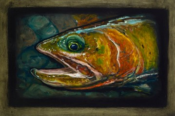 "Cutthroat Trout IV, Lamar Valley, Yellowstone Park, 6"" x 8.75"", Oils on Plaster Panel"