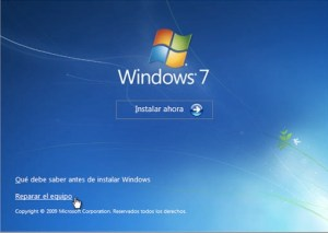 reparar el equipo windows7