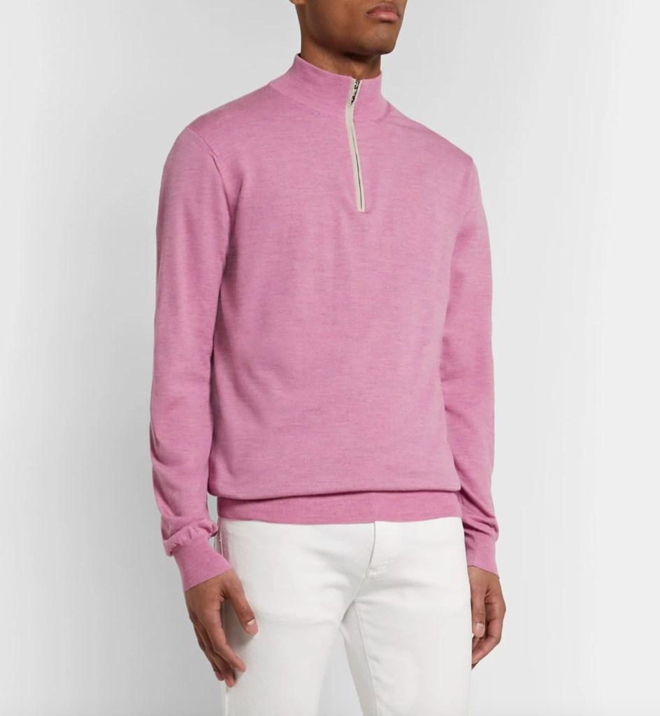 Peter Millar Suede-Trimmed Merino Wool-Blend Half-Zip Sweater