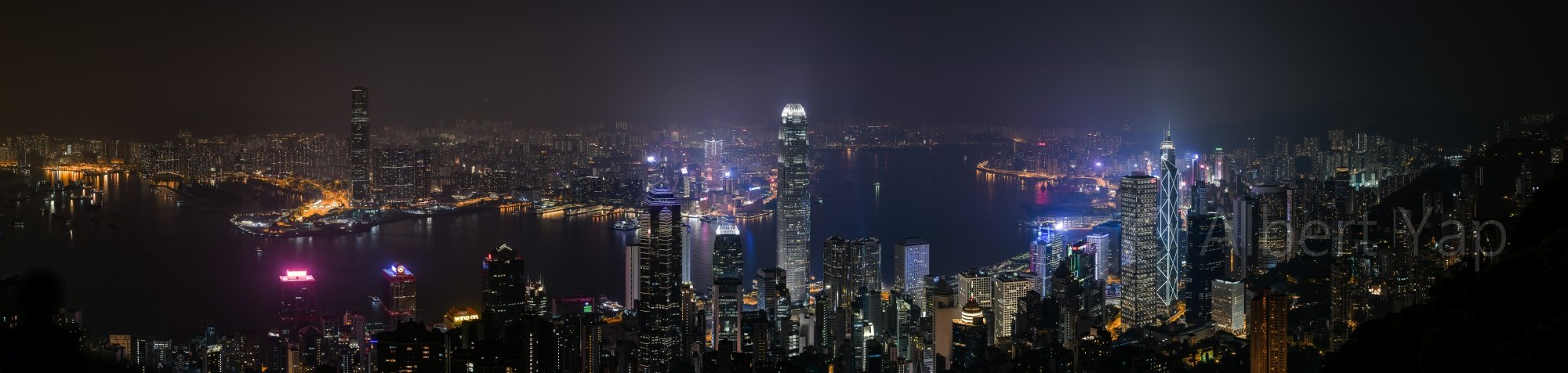 The magnificent view of Hong Kong Night cityscape