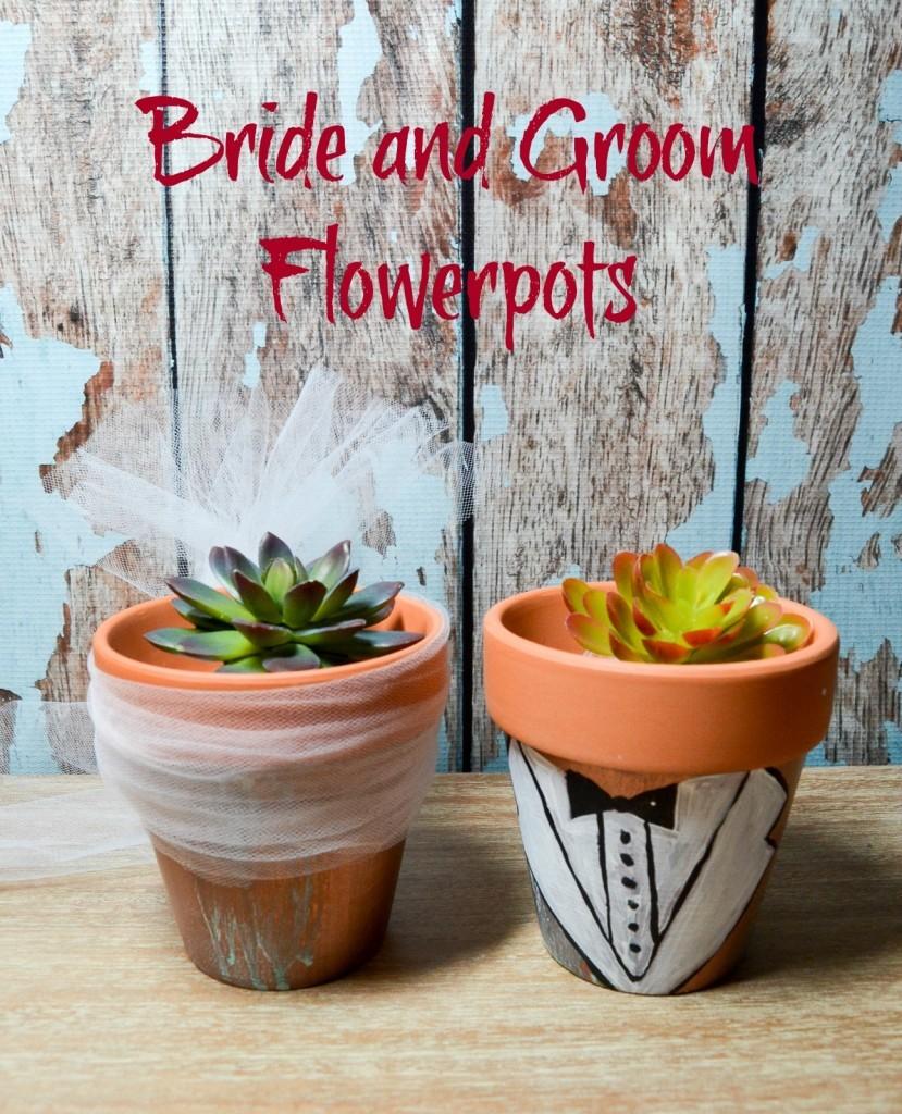 Bride and Groom Flowerpots