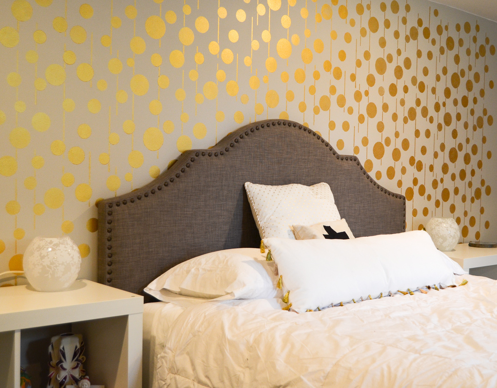 Golden Stenciled Wall