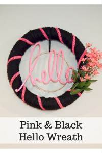 Pink and Black Hello Wreath