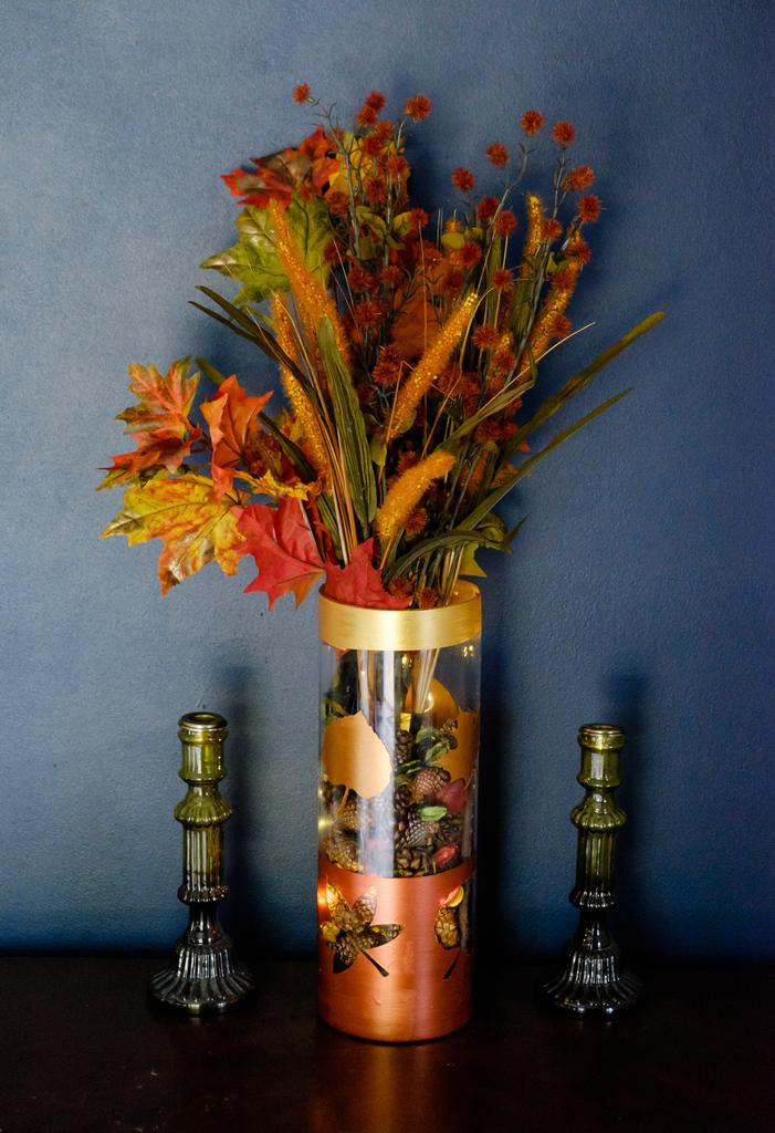 Metallic Painted Fall Vase
