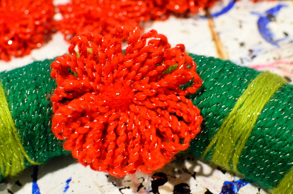 attach flower with straight pin