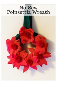 No-Sew Poinsettia Wreath