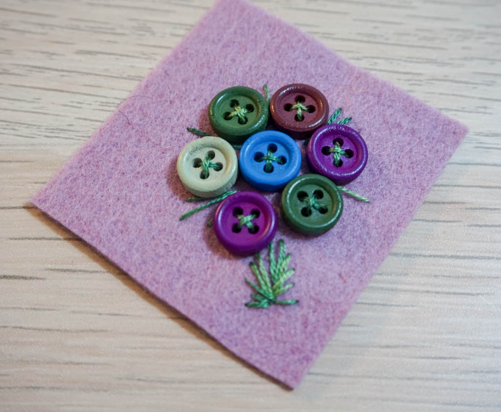 Button Bouquet Brooch
