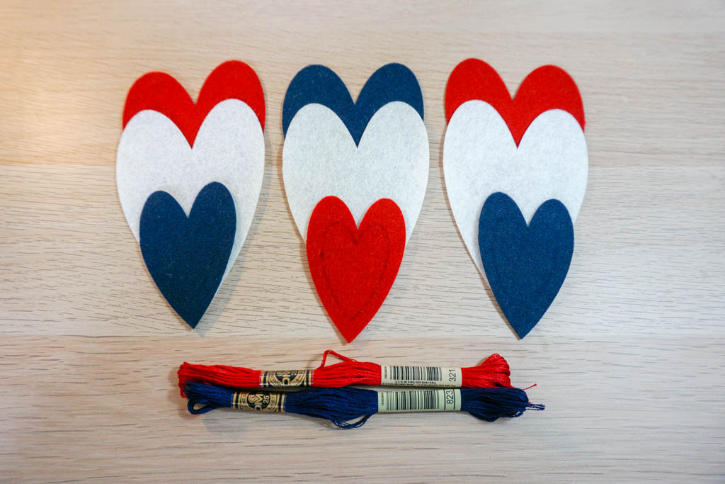 Patriotic Felt Heart Ornaments